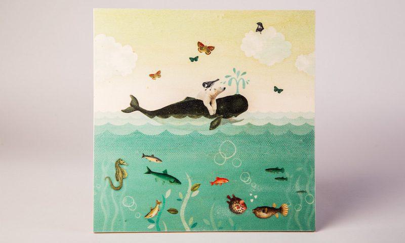 Houtprint walvis
