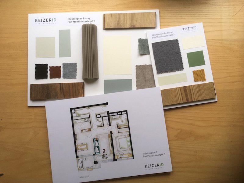 Kleuren- en indelingsplan appartement Diemen
